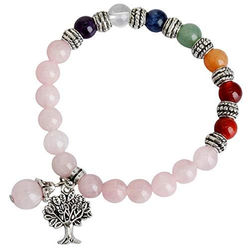 TUMBEELLUWA Beads Bracelets Semi Precious Stone Yoga Beads Healing Crystals Tree of Life Charm Chakra Bracelet Handmade Jewelry for Women,Rose Quartz(7 Chakra)