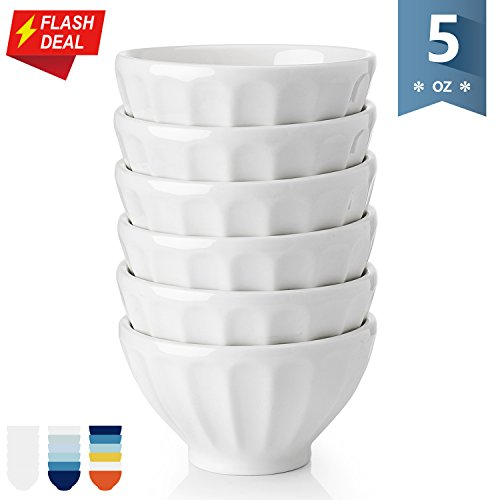 Sweese 1123 Porcelain Fluted Bowls - 5 Ounce for Ice Cream D