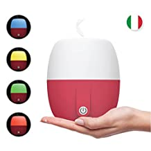 Best Anton Aroma, Scent and Fragrance Air Diffuser, Essential Oil ultrasonic Aromatherapy, Humidifier - Now with Italian Design, 140ml, Extra Long Cord, Timer, Auto Shut Off, Soft Paint, Color LED (Lava red)