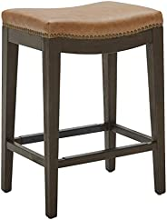 Amazon Brand – Stone & Beam Elden Leather Nailhead Barstool, 26""