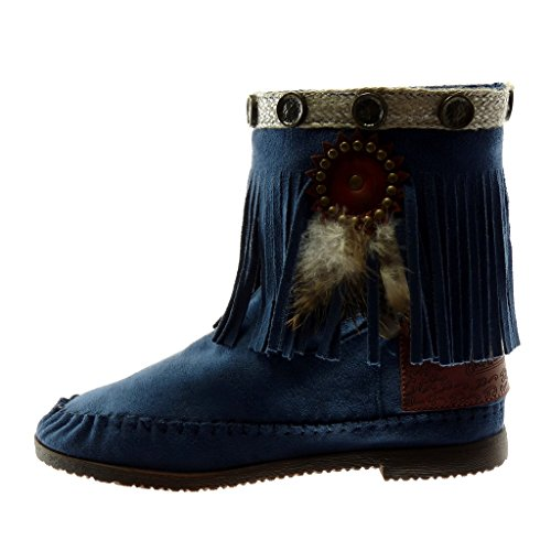 Franges Talons Mode Chaussures Plumes Carrs Angkorly 5 Bottines Cm on Pour Femmes Clouts Slip Mocassins Bleu Folk 1 zHqwPxg