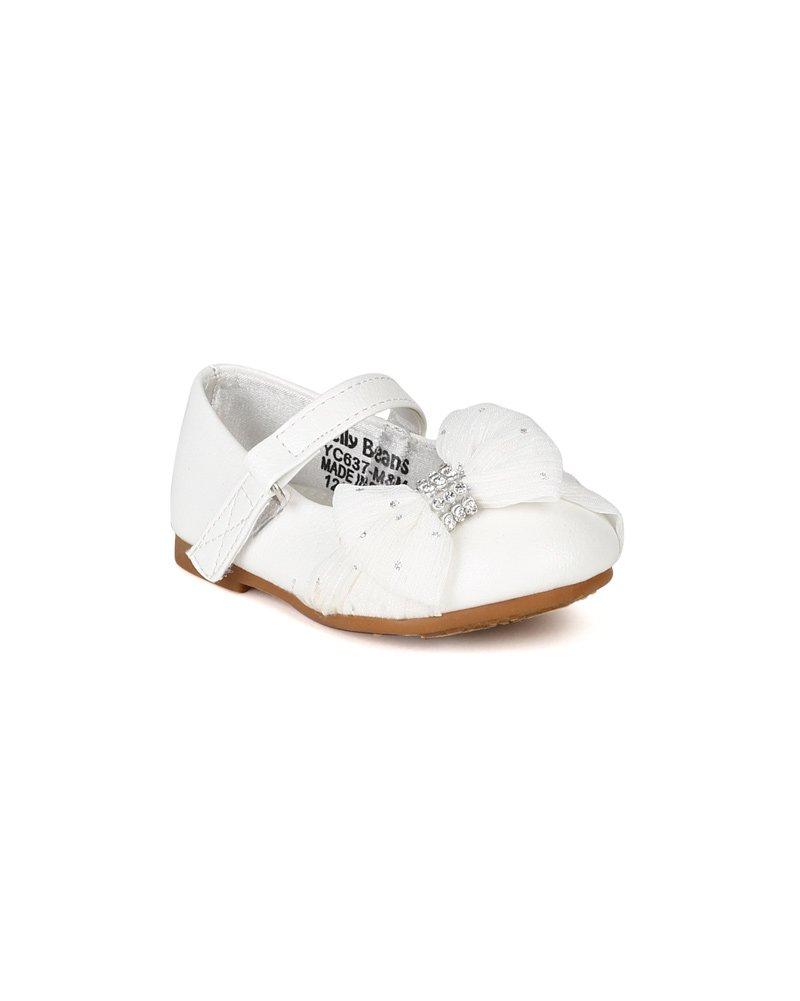 JELLY BEANS Limasa Leatherette Fabric Bow Rhinestone Mary Jane Dressy Ballerina Flat (Toddler) AH36 - White (Size: Toddler 8)