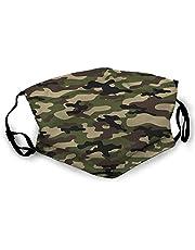 Gezichtsdecoratie, camouflagepatroon, militair, voor mondbescherming, verstelbare oorloop, halve gezichtshoezen ter bescherming tegen opbergen, 20 x 15 cm