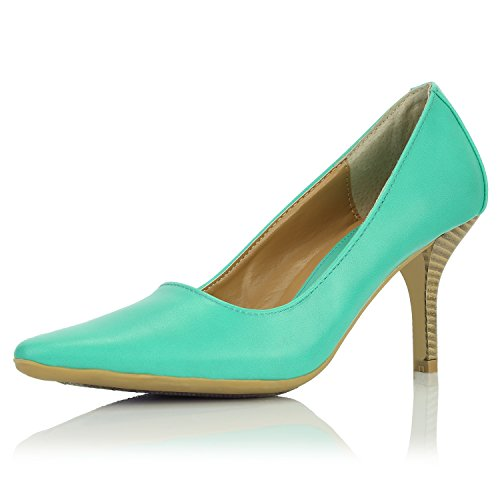 DailyShoes Womens Classic Fashion Pointed Toe High Heel With Special Rubber Non-Slip Sole Dress Pumps Shoes Green