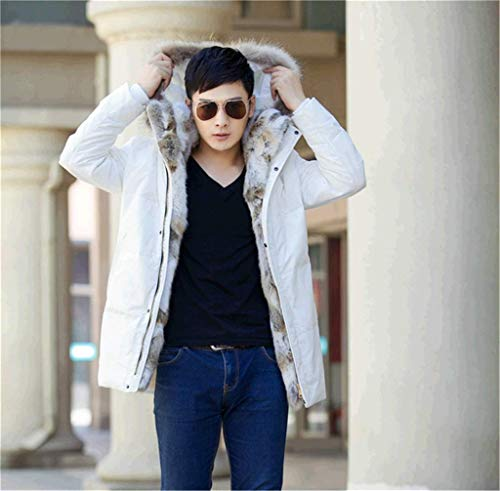 Fur Lined Detachable 90 Outdoor Fur Parka Warm Faux Jacket Collar Z6M6 Hooded Long Mens White Coat Winter Down Mid gXqzHP