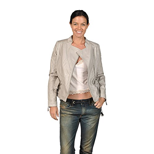 Jou Jou Stone Color Faux Leather Womens Jacket With Belt
