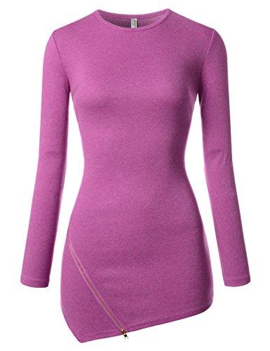 NEARKIN (NKNKWZT65) Womens Slim Cut Crewneck Unbalanced Hem Zippered Tshirts MULBERRY US XL(Tag size 2XL) (Cut T-shirt Things Womens)