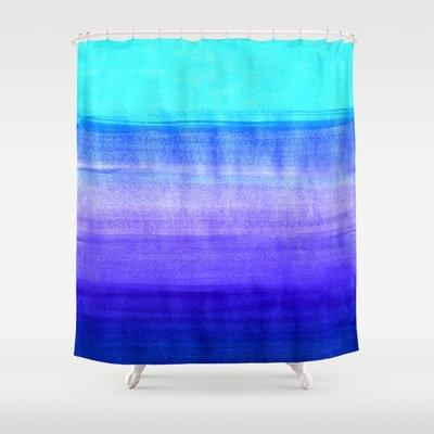 Society6 Ocean Horizon - Cobalt Blue, Purple & Mint Waterco… Shower Curtain by Tangerine-Tane