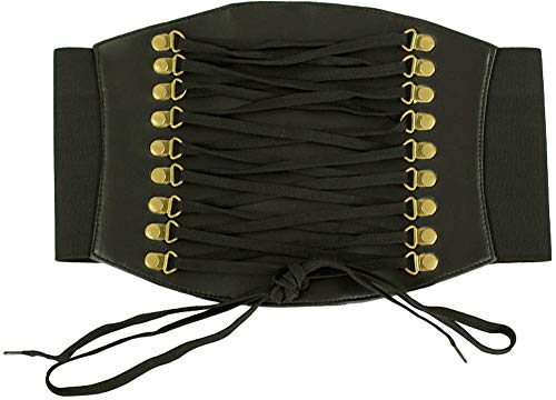 Orchard Corset Faux Black Leather Corset Belt CB-915-L -