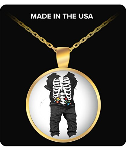 [Halloween Ghost Costume Jewelry For Kids - Skeletton Kid Round Gold Necklace - Fun Halloween Gift For Boys & Girls - Halloweenie Gifts For Her & Him - Skeletton Accessory Gift Ideas For Kids &] (Homemade Kids Halloween Costumes Unique)