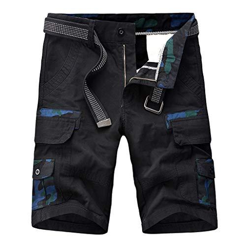 Byste Casuale Nero Con Shorts Multi Pantaloncini Pantaloni Corti Esecuzione Cargo pocket All'aperto Cotone Cintura Lavoro In Camuffare uomo r1xqCr