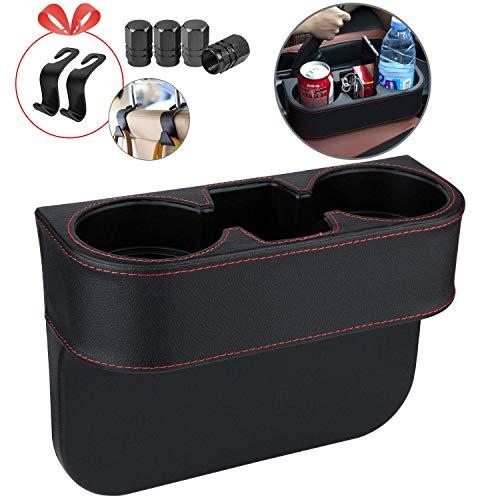 Homesprit - Soporte para vasos de coche con soporte para teléfono, relleno de huecos de asiento con cubierta de piel, soporte para vasos de asiento lateral para guardar y organizar el coche, bolsa para bebidas, etc. (sin marco)