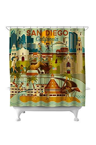 Lantern Press San Diego, California - Geometric 90058 (74x74 Polyester Shower Curtain) (San Barrel Crate & Diego)