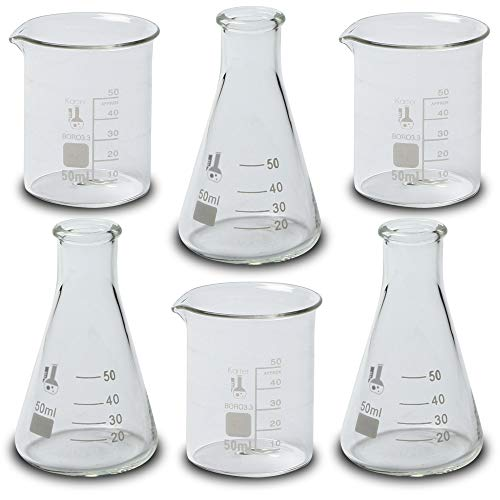 Laboratory Shot Glass Set, Set of 6-50ml Beakers and for sale  Delivered anywhere in USA