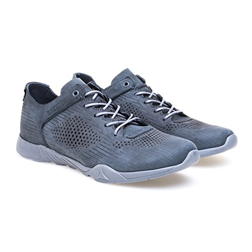 Greyder Modischer Sneaker mit Musterprägung Herren Sneaker Schnürung Casualmode Logoprägung Gemustert Leder Atmungsaktiv Gepolstert Grey