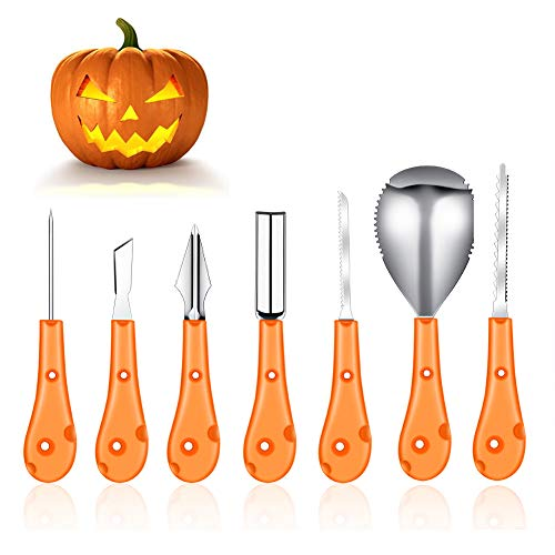 Professional Pumpkin Carving Tool,7 Piece Heavy Duty Stainless