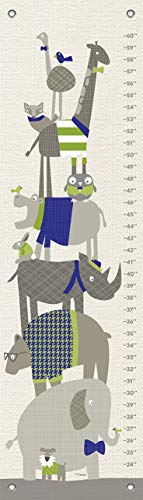 Woodland Cloth Growth Chart - Oopsy Daisy, Fine Art for Kids Happy Animal Herd - Green & Navy Growth Chart, 12 x 42, Green
