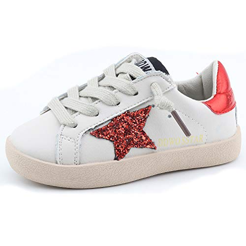 Bakkotie Toddler Baby Boys and Girls Fashion White Sparkly Glitter Leather Retro Star Sneakers Shoes(FS2239-Red/DDWO-25)