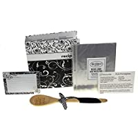 Recipe Book Bundle - Brownlow Black & White Swirl Recipe Binder, 4 x 6 Recipe Cards, Tabbed Dividers, Extra Recipe Cards, Protector Pages, Spoon & 2 Bonus Recipes by Hickoryville