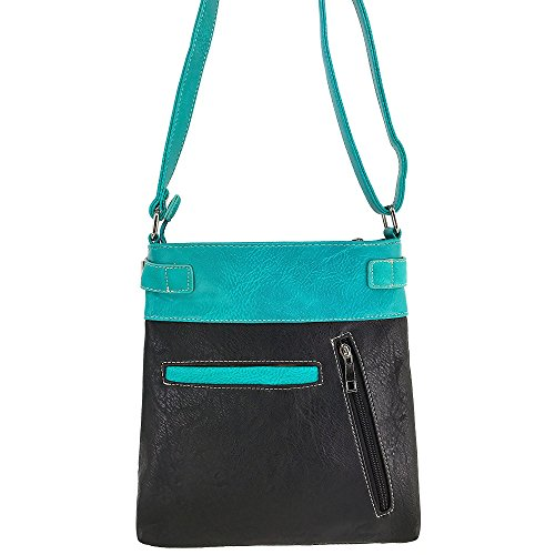 Turquoise Justin Cut Rhinestone CrossBody Cross West Laser Embroidery Silver with Western Strap Messenger Handbag qCgn4OwUtq