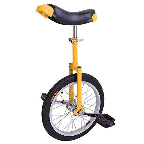 16 inch Wheel Professional Unicycle Cycling Sport Training Balance with Skidproof Mountain Tire Somatological Design (Yellow)