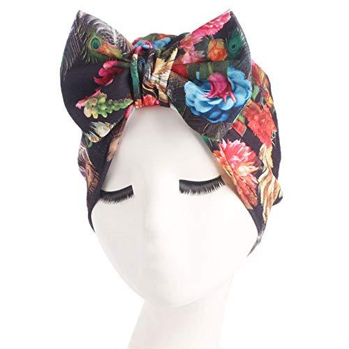 Head Wrap Scarf Printing Bow Retro Country Garden Head Wrap Cap for Women (F)]()