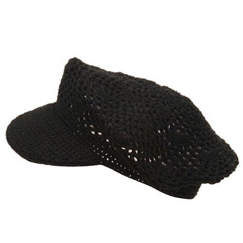 Crocheted Newsboy (Crocheted Newsboy Hats(01)-Black)