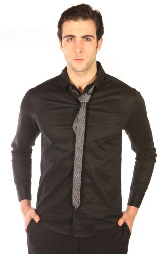 (Lip Service Blacklist Stretch Poplin Shirt With Reversible Tie Size: XL )
