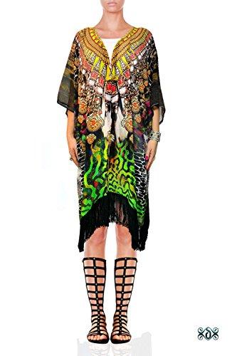 Devarshy Decorative Animal Print Georgette Fringes Short Designer Kimono (Animal Print Georgette Tunic)