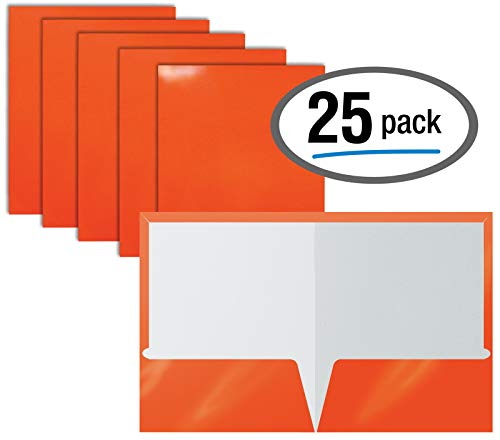 2 Pocket Glossy Laminated Orange Paper Folders, Letter Size, Orange Paper Portfolios by Better Office Products, Box of 25 Orange Folders