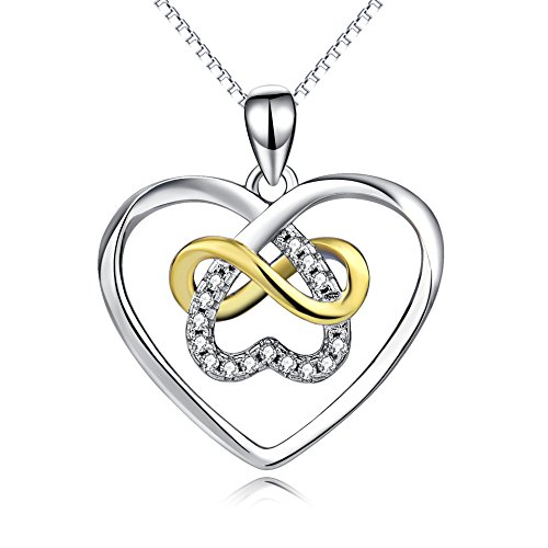 YFN Celtic Knot Cross Jewelry Sterling Silver Platinum Polished Infinity Heart Pendant Necklace 18