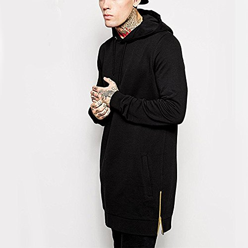 Men Cotton Hoodies Winter Hip Hop Black Sweatshirt Hooded Jacket Side Metal Zipper Kanga Pocket (M)