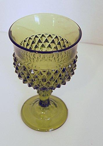 Indiana Glass Green Diamond Point Pattern Wine Goblet 5.25