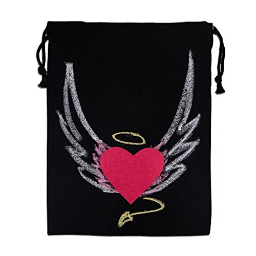 Angel Heart Drawstring Tote Bag Travel Shoulder Daypack Portable Handbag - White Angels Handbag