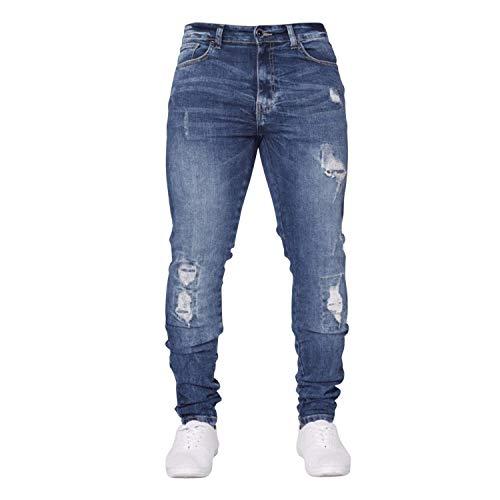Lavaggio Pantaloni Strappati Leggero Da Jeans Con Skinny Blu Blau Ampi Fit Elasticizzati Uomo Slim Casual nTTpqPgw