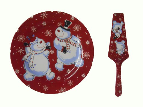 Snowman Cake Plate/Server Plate with Serving Knife