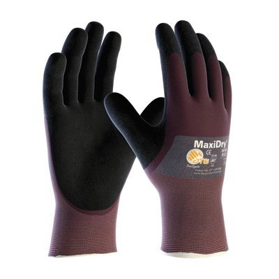 (Protective Industrial Products® Large MaxiDry® by ATG® Ultra Light Weight Abrasion Resistant Black Nitrile Dipped Coated Work Gloves With Purple Seamless Knit Nylon Liner And Continuous Knit Cuff)