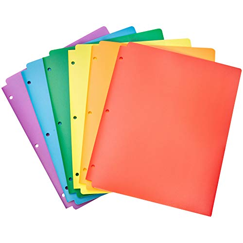 AmazonBasics Plastic 3 Hole Punch Folders with 2 Pockets, Multicolor Pack of 6 (Plastic Double Pocket Folder)