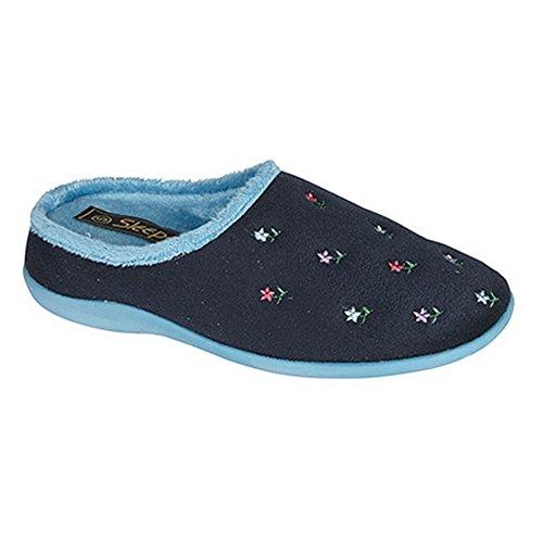 Sleepers - Zapatillas de estar por casa abiertas memory foam con estampado floral para mujer Azul