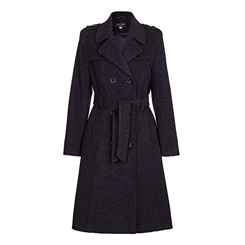 De la Crème Womens Wool Blend Belted Long Tweed Trench Coat, Black, Size 8 Belted Tweed Coat