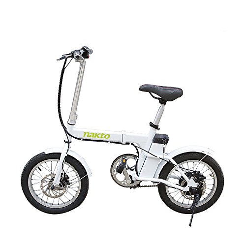 NAKTO 220W 16″ Folding Electric Bike Collapsible Electric Commuter Bike Ebike With 36V 6Ah Lithium Battery Powerful Brushless Gear Motor USB Charge(White) Review