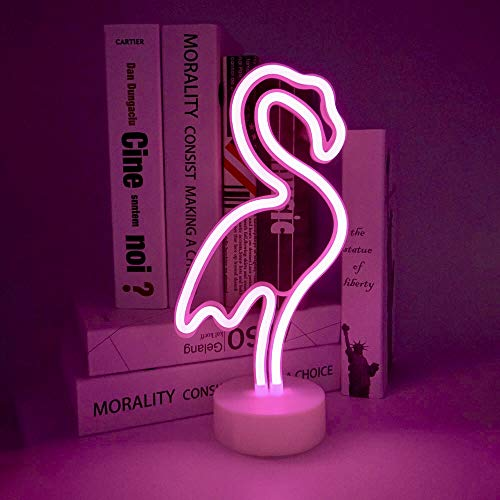 StarryMine Flamingo Neon Light Signs,Pink LED Neon Art Decorative with Holder Base,Table Light Marquee Signs/Wall Decoration for Kids' Room Birthday Party Light Bar Recreational Wedding Party
