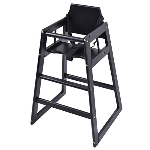 Costzon Wooden High Chair, Infant Feeding Chair with Safety Harness, Commercial Natural Wood High Chair for Babies and Toddlers (Black)