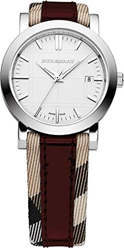 SALE! Authentic Burberry Heritage LUXURY Unisex Mens Womens Watch Check Fabric Red Leather Band Silver Engraved Date Dial BU1389