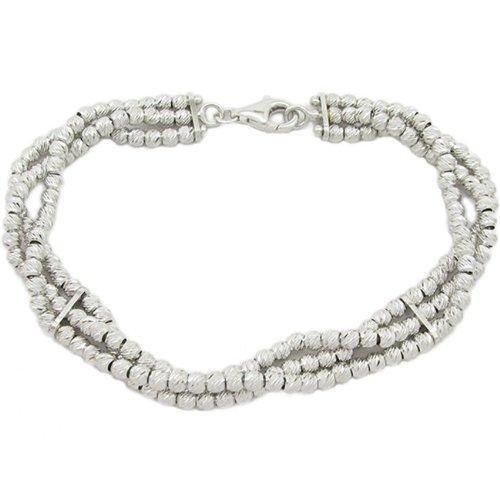 Argent Sterling 3 rangées de perles bracelet mbmi98 Blanc