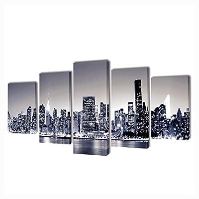 "K&A Company Poster, Print, Visual Artwork, Canvas Wall Print Set Monochrome New York Skyline 39"" x 20"""