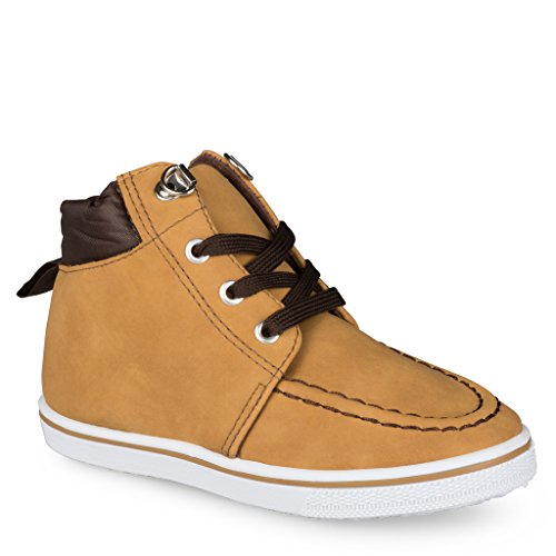 [C9106-TAN-10] Boys High Top Sneakers: Workboot Style Tennis Shoes, Moc Toe, Size 10