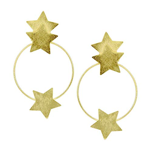 Sheila Fajl Small Cassiopeia Front Hoops Earrings with Stars in Gold
