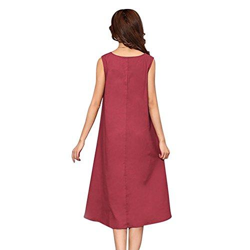 lunga Senza Dresses Maglietta Maniche Estivo Lunghi Women Rosso Vestiti Hougood Floreale Donna Inchiostro Casual Lino Abiti Cotone Stampa Asimmetrico Abito zUwqXOI