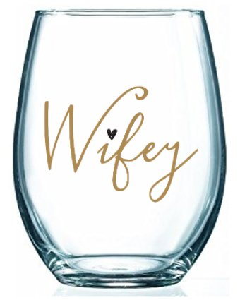 Wifey Wine Glass - 17 oz Stemless Wife Wine Glass - Perfect Bridal Shower Gift - Bride To Be Gift - Gift For Wife - Bride - Gifts For Wifes